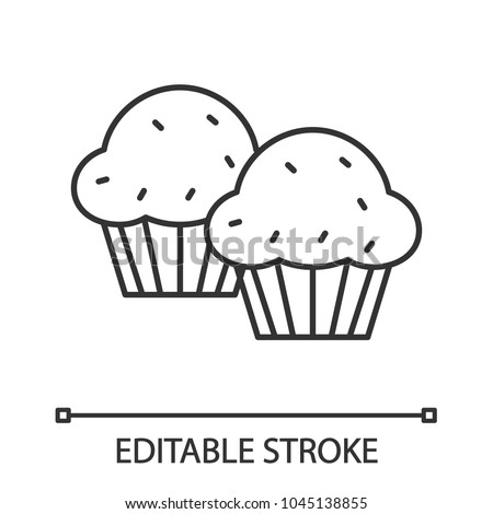 Cupcakes linear icon. Thin line illustration. Muffins. Contour symbol. Vector isolated outline drawing. Editable stroke