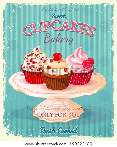 cupcakes poster in vintage