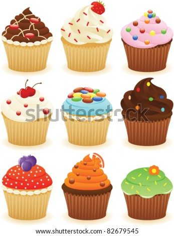 cupcakes set eps 8  cmyk with