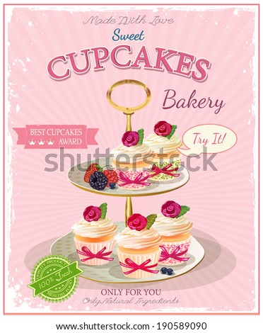 CupCakes Set of sweets on cake stand Poster in vintage style