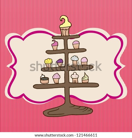 Cupcakes tower on pink striped background,  vector illustration