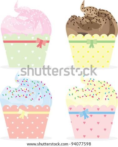 Cupcakes - vector illustration set