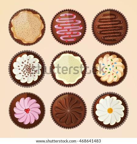 cupcakes vector set design