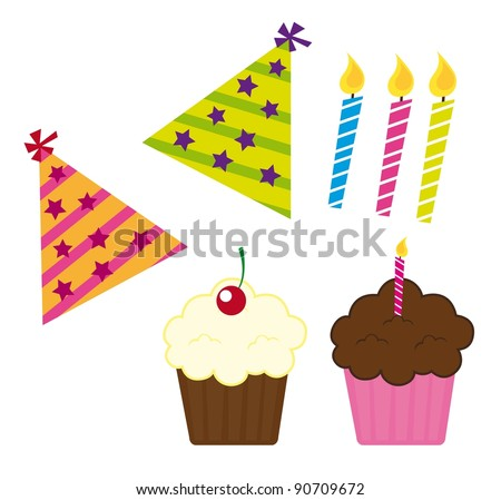 cupcakes with candle and hat birthday vector illustration
