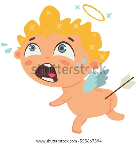 cupid crying with arrow in the