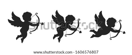 cupid icon set. love and valentine's day symbol. Cupid shooting arrow. isolated vector black silhouette image