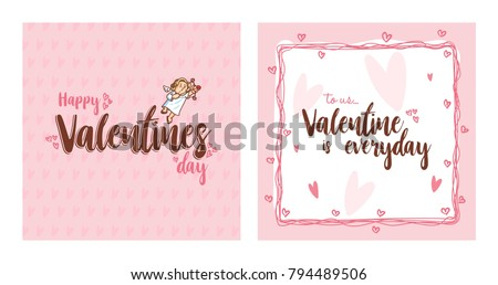 Cupid inside frame for valentines day. Vector Illustration. Happy Valentines Day. Valentines Day Greeting Card. #794489506