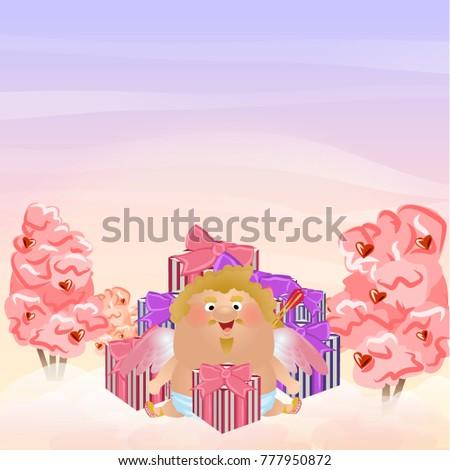 cupid or an angel sits near a
