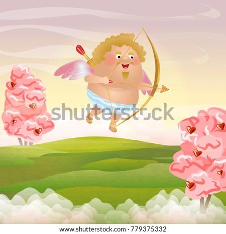 cupid or angel flies across the