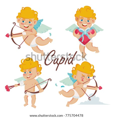 cupid set vector cupids bow