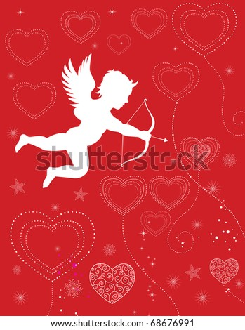 Cupid shooting valentine hearts floating on a red background