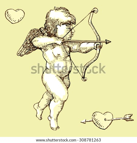 cupid with bow  arrow and heart