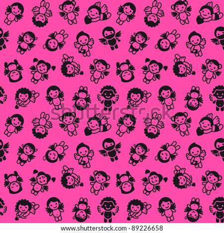 cupids set  black on pink
