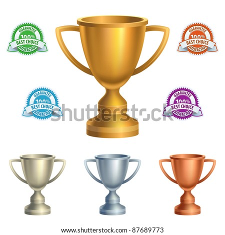 Cups and guarantees in various colors