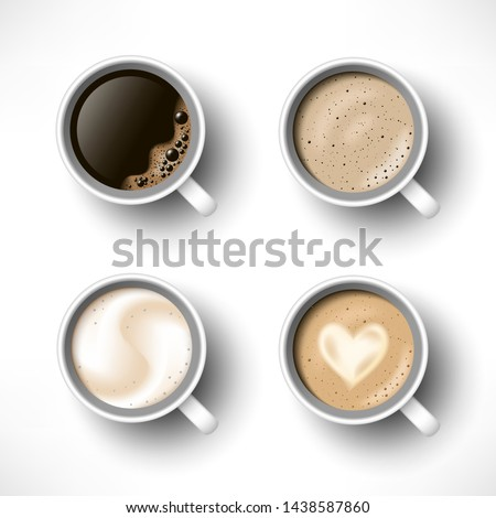 Cups of coffee assortment set. Black coffee, cappuccino, latte, espresso, macchiatto, mocha top view. Easy to edit realistic vector collection. 3d model americano in white cup isolated on white