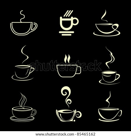 Cups of Coffee - set of isolated vector icons. On black background.