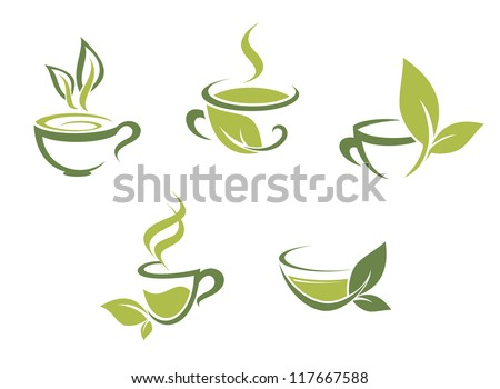 cups of fresh tea and green