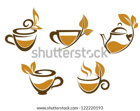 Cups of tea with brown leaves for fast food or herbal drinks design, such a logo template. Jpeg version also available in gallery