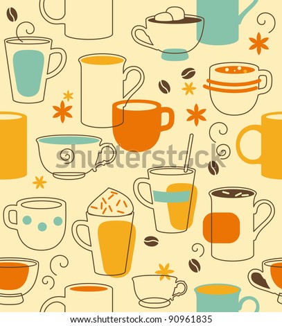 Cups seamless pattern in retro style