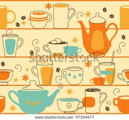Cups Seamless. Seamless pattern with teapot and cups in retro-style