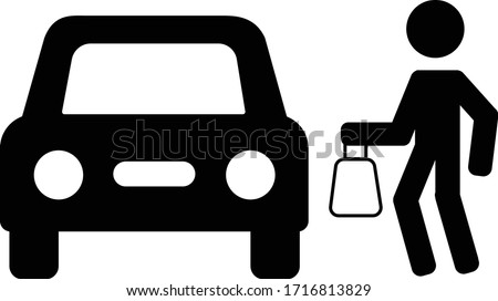 Curb Side Delivery illustrative vector clip art of Person walking bag towards car  Stock photo ©
