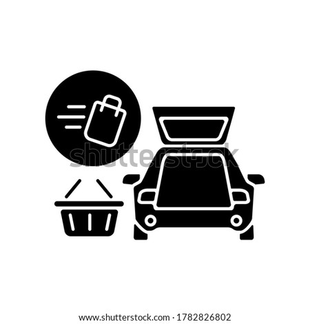 Curbside pickup black glyph icon. Food delivery. Delivering groceries by automobile. Online supermarket products courier service. Silhouette symbol on white space. Vector isolated illustration Photo stock ©