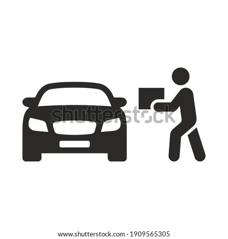 Curbside pickup icon. Order pickup. Vector icon isolated on white background. Foto d'archivio ©