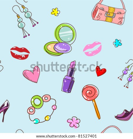 Cure girlish seamless background texture with fashion acessories and things