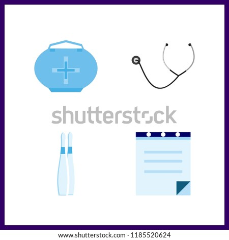 cure icon. medicine bag and stethoscope vector icons in cure set. Use this illustration for cure works.