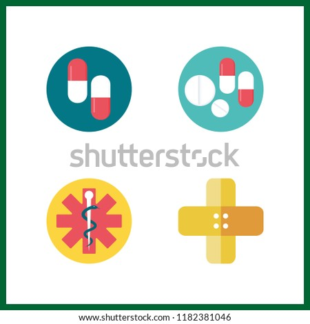 cure icon. pills and pharmacy vector icons in cure set. Use this illustration for cure works.