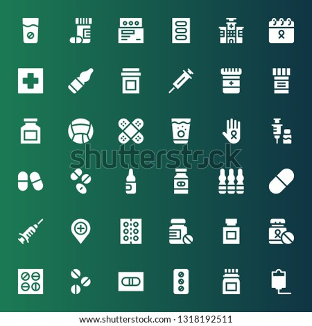 cure icon set. Collection of 36 filled cure icons included Iv, Medicine, Pill, Pills, Drug, Hospital, Vaccine, Ampoule, Drugs, Cancer, Bandage, Vials