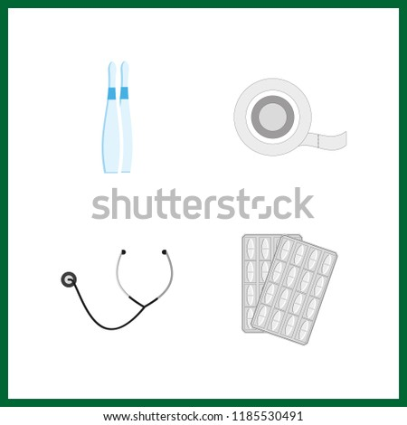 cure icon. stethoscope and medical tape vector icons in cure set. Use this illustration for cure works.