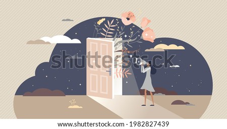 Curiosity and cognition with looking in unknown future tiny person concept. Female exploring and observe process as standing with binoculars and view surroundings vector illustration. Curious scene.