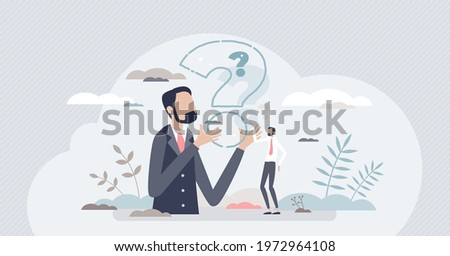 Curiosity and thinking about questions and examining them tiny person concept. Mind training and dilemma situations as brain exercise vector illustration. Cognitive process and curious thoughts scene.
