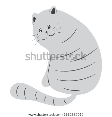 Curious gray striped cat vector illustration in doodle style. Hand drawn sketch of cute kawaii kitty character. Isolated drawing of adorable pet