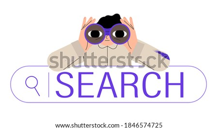 Curious man looking through binoculars. Business metaphore for search or research, development, web surfing. Trendy outline vector characters for web or ui design.