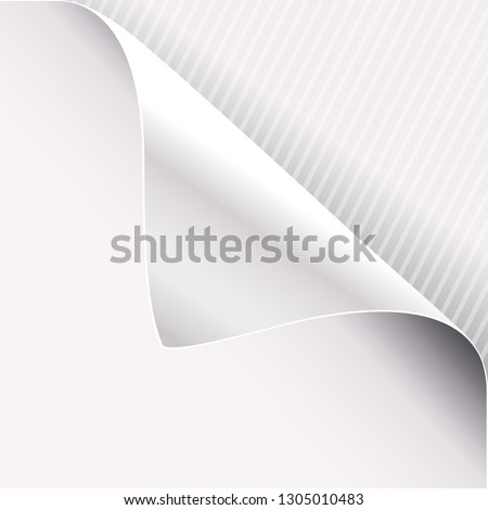 Curled corner of white paper on right top angle. Vector illustration.
