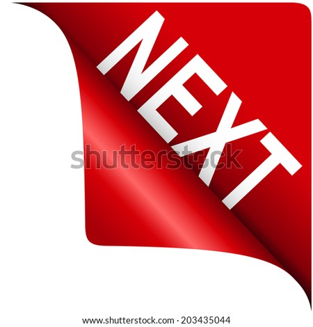 curled corner red with text next for design. vector illustrations