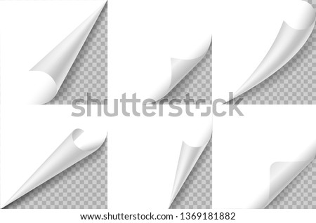 Curled corners set. Paper page curl corner, flip turn fold sheet. Sticker curly angle, bent border notepad. Realistic square edge vector design