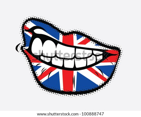 Curled lips with Great Britain flag - vector illustration