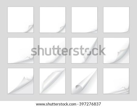 Wall mural Curled page corner. Square white sheet edge, curve page corner and paper curl with realistic shadow big isolated set. Sticker curly angle, flip torn bent border notepad vector illustration