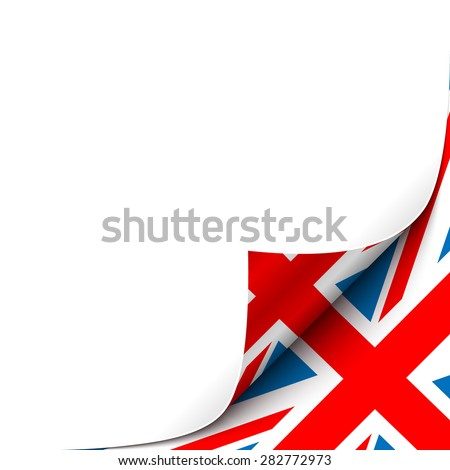 Curled Paper Corner with Great Britain Flag Background. Vector Illustration Foto d'archivio ©