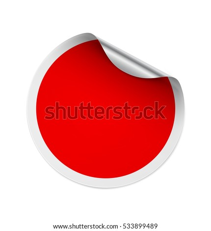 Curled red sticker isolated on white background. Vector illustration. It can be use for price, promo, adv and etc. #533899489