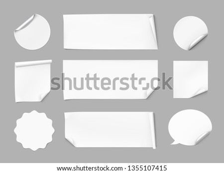 Curled stickers set. Vector illustration on gray background. Can be use for template your design, promo, adv. EPS10. #1355107415