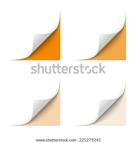 Curled White Paper Corner with Orange Background