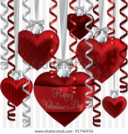 Curling ribbon heart bauble Happy Valentine's Day card in vector format.