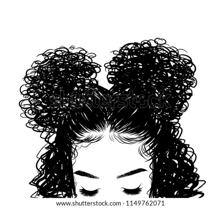 Curly beauty girl illustration isolated on clear background. Double buns with long hair. Hand draw idea for business cards, templates, web, brochure, posters, postcards, salon