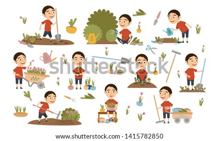 Curly boy gardening plants, weed beds, watering seedlings, pruning bushes and trees, working in the garden. People and garden tools. Vector illustration