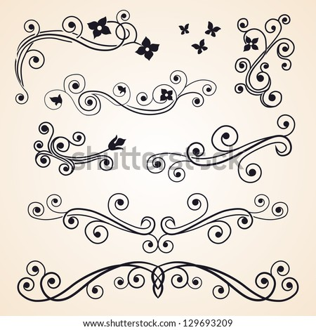 Curly design elements. Floral ornament