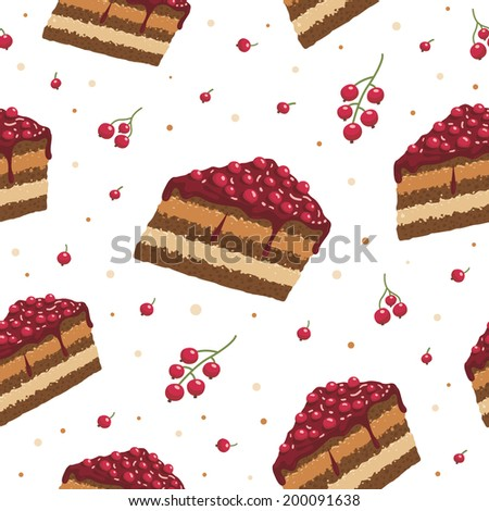 Currant cake seamless pattern